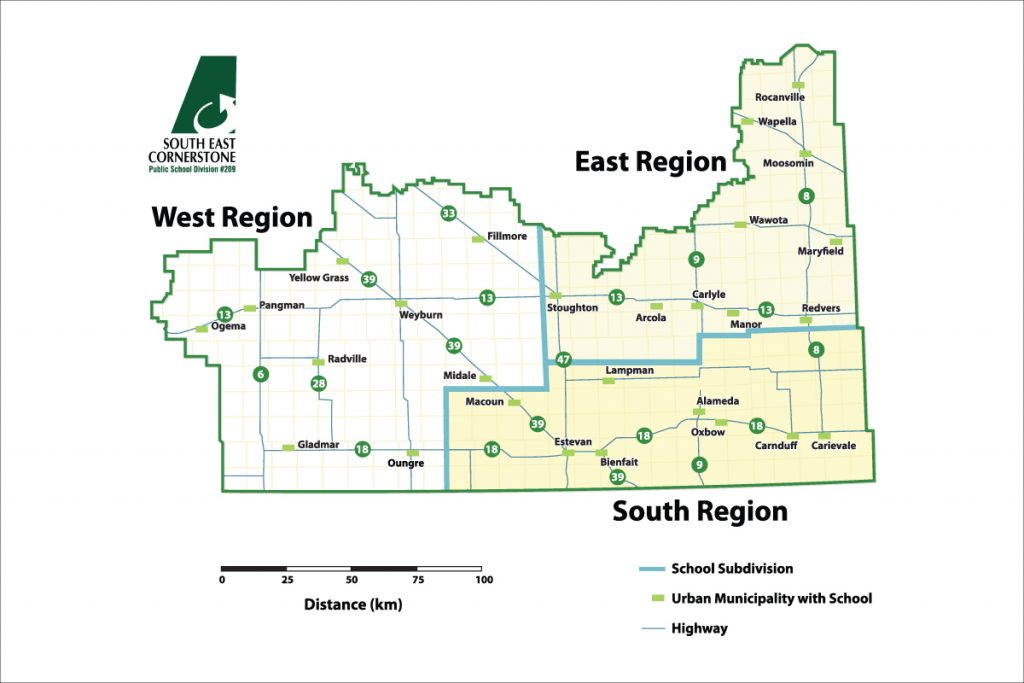 South East Cornerstone Public School Division map